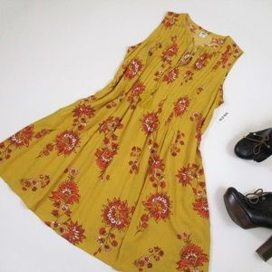NWT Old Navy S Mustard Floral Tunic Sun Dress